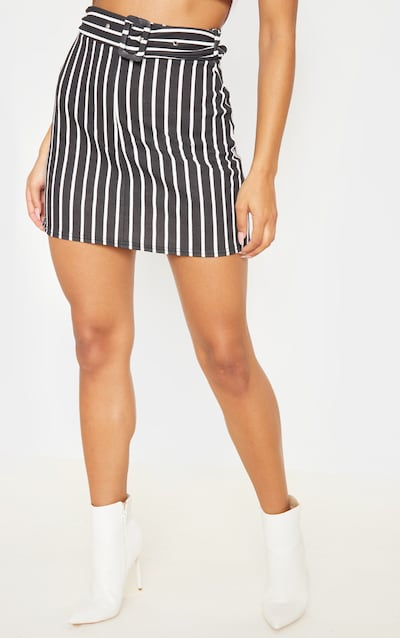 Black Pinstripe Belted A Line Mini Skirt