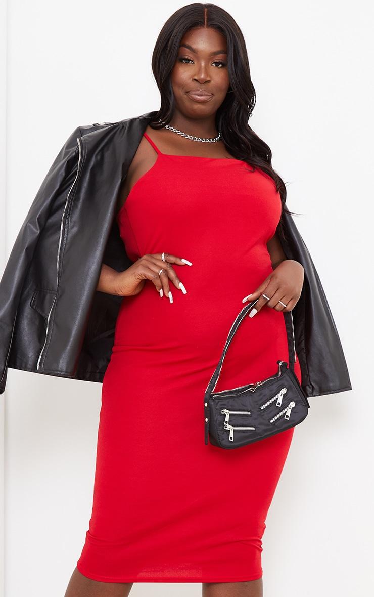 Plus Red Strappy Midi Dress 1