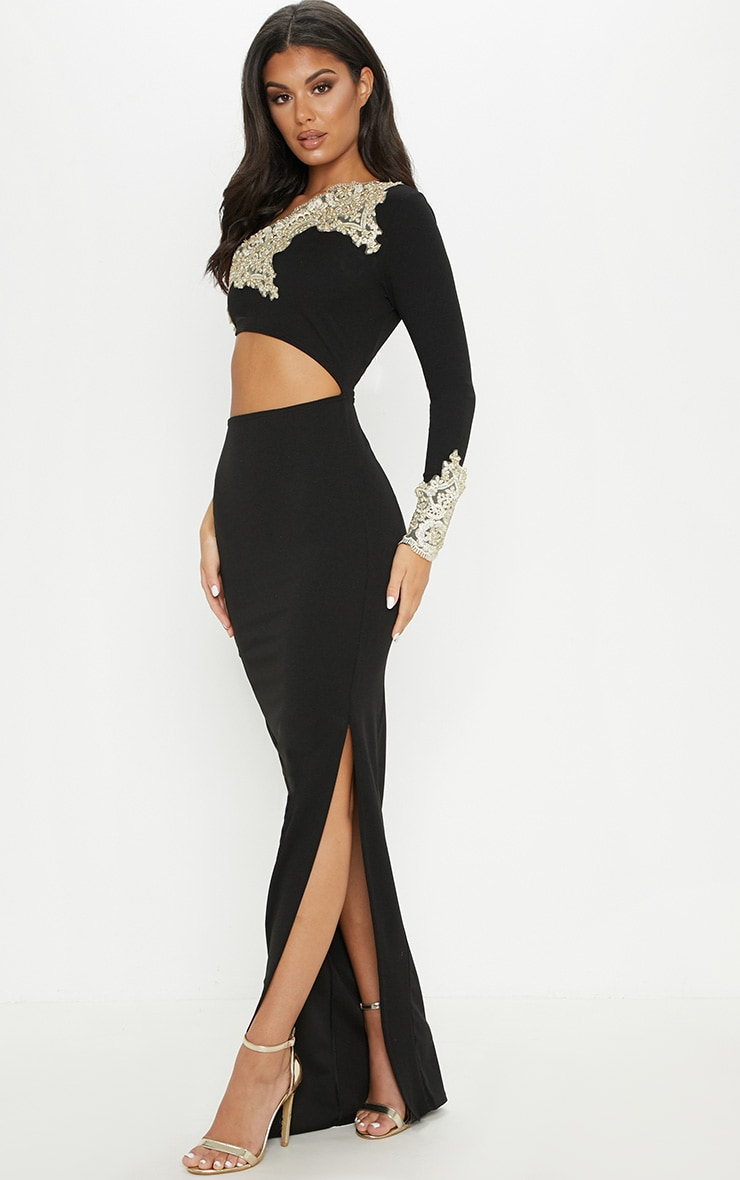 Black Applique Detail One Shoulder Cut Out Maxi Dress 4