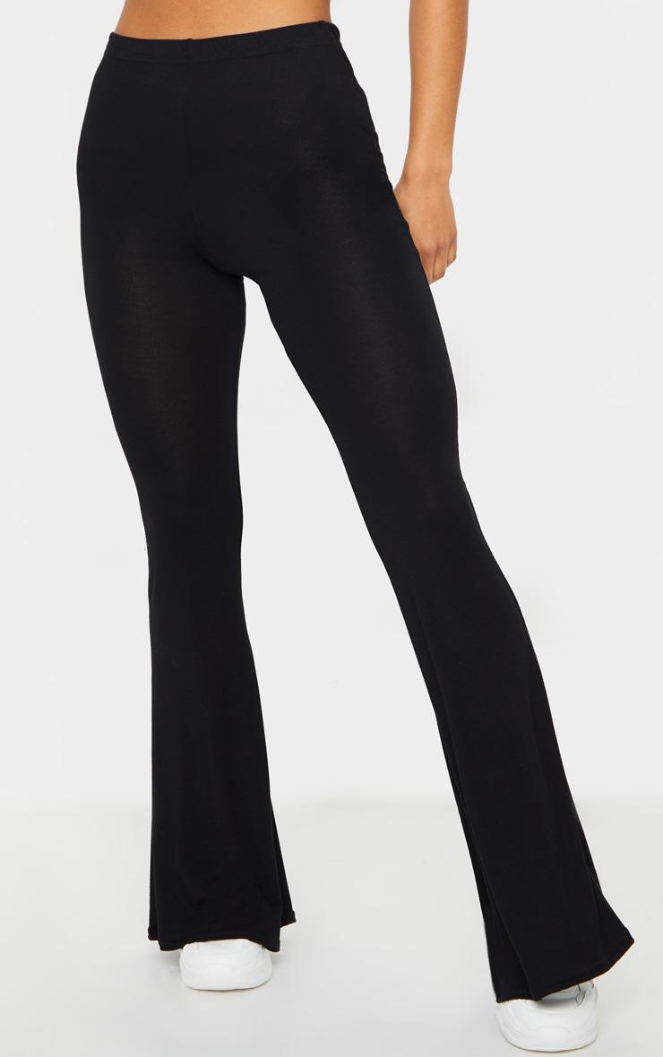 Basic Black Jersey Flared Pants 2