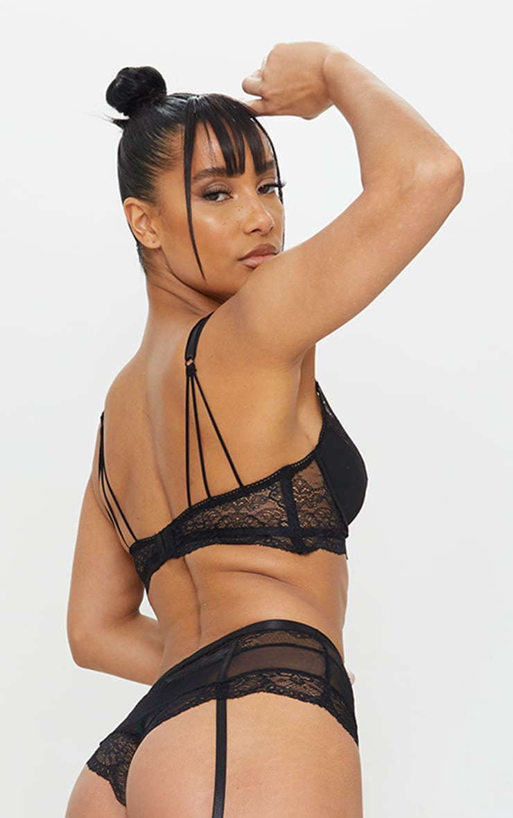 Black Strappy Lace Underwired Suspender Lingerie Set 2