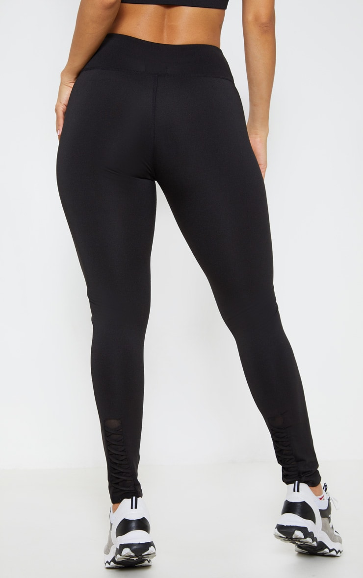 Black Lace Back Cuff Gym Legging 4