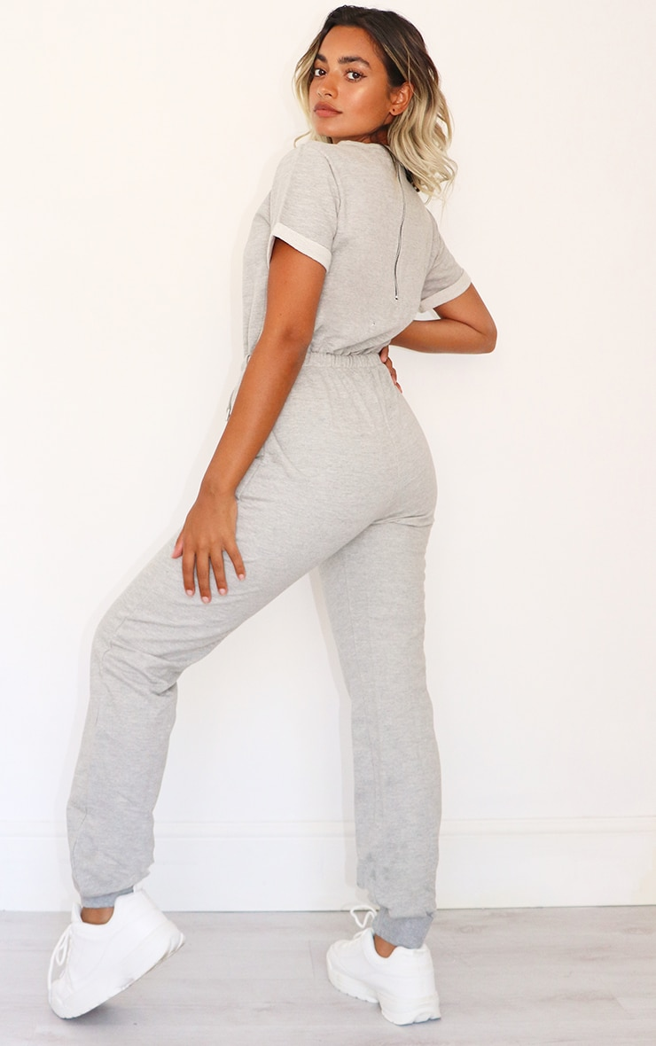 Petite Grey Sleeve Sweat Jumpsuit 2