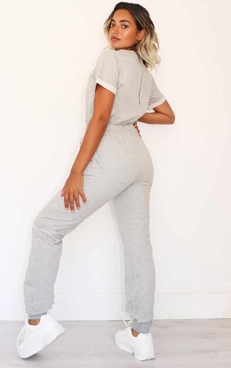 Petite Grey Sleeve Sweat Jumpsuit 2
