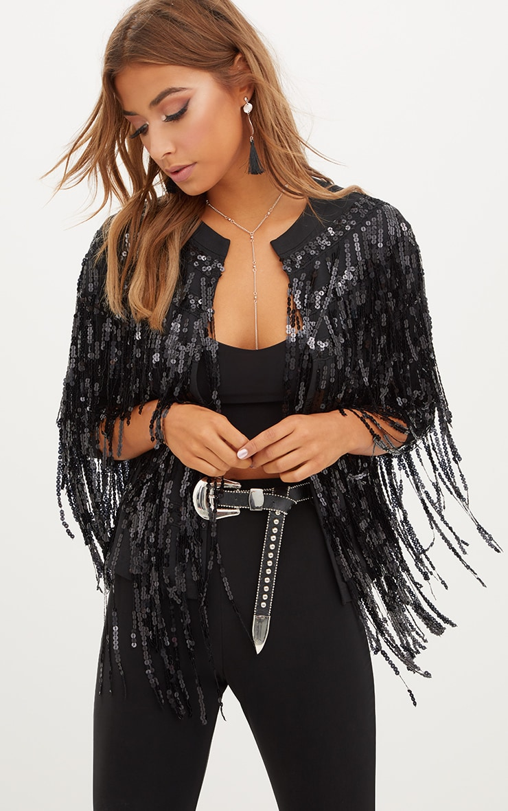 Black Sequin Fringed Jacket 1