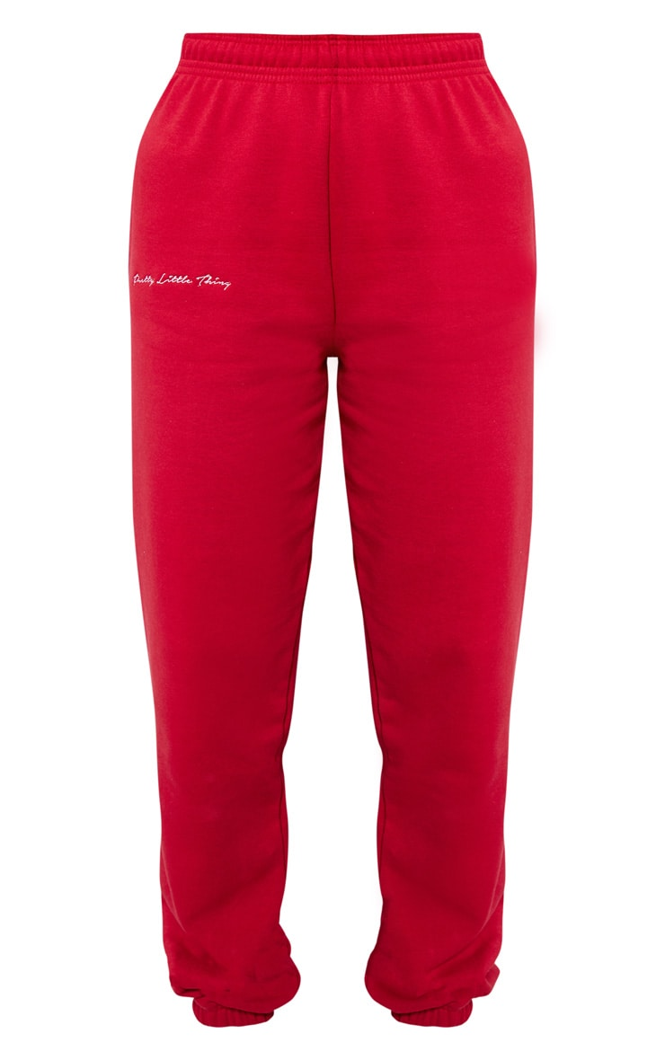 PRETTYLITTLETHING Scarlet Embroidered Jogger 3