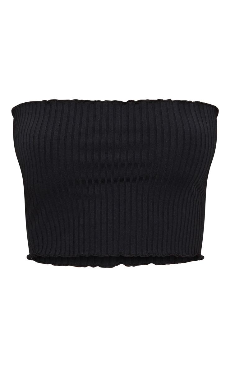 Crop top bandeau noir côtelé à volants 3