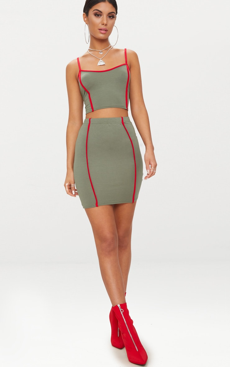 Khaki Contrast Binding Strappy Crop Top 4