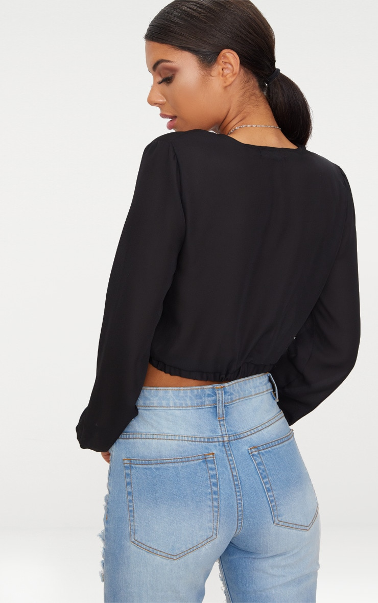 Black Chiffon Stripe Crop Blouse  2