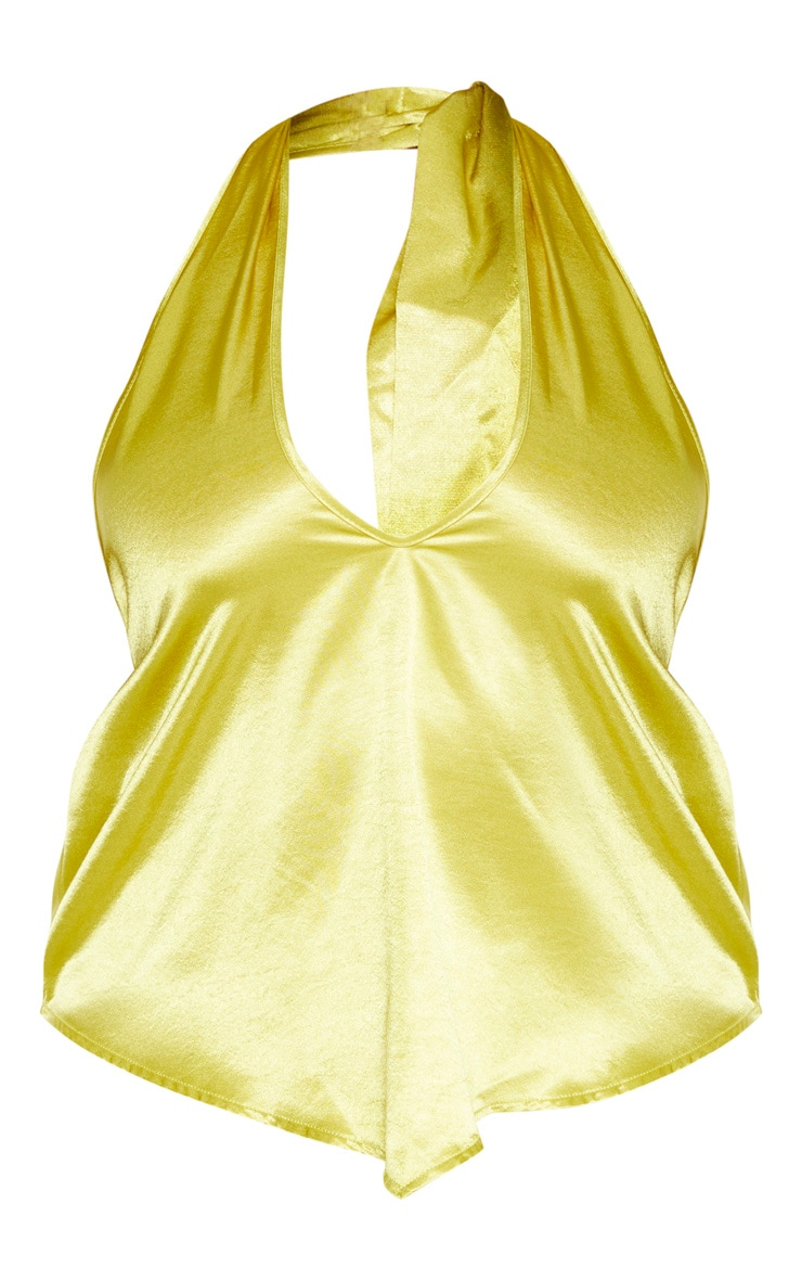 PLT Plus - Crop top à dos nu jaune citron clair satiné 3