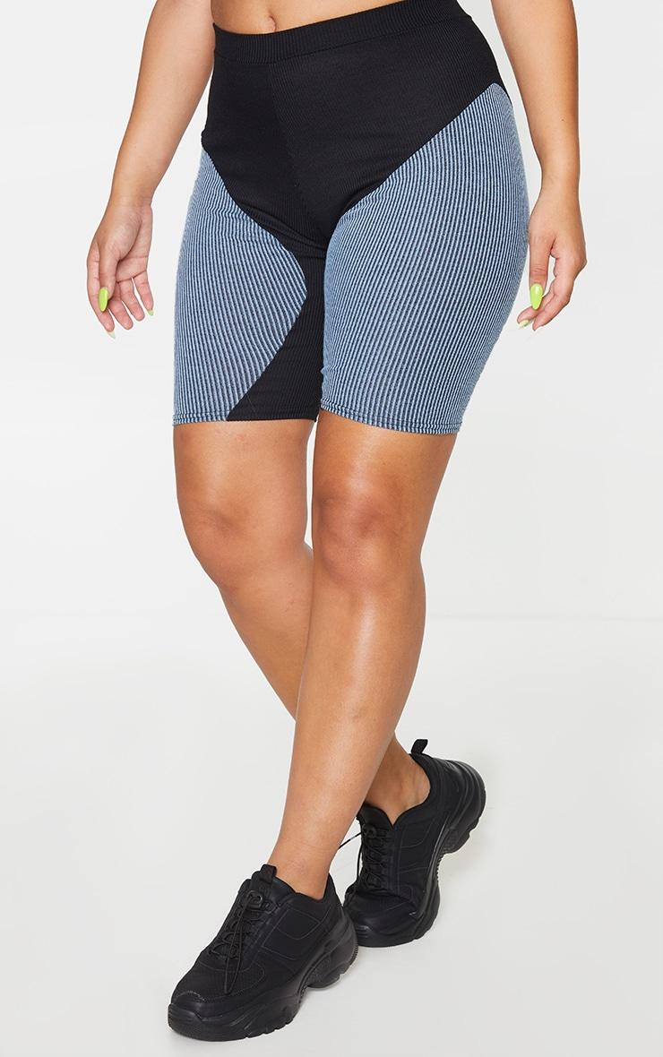 Black Contrast Rib Panel Bike Shorts 2