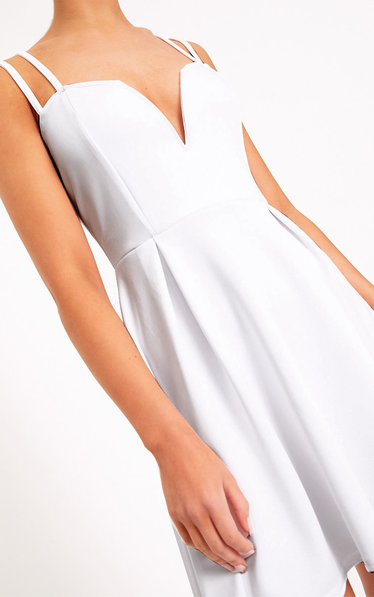 White V Plunge Double Strap Skater Dress 3