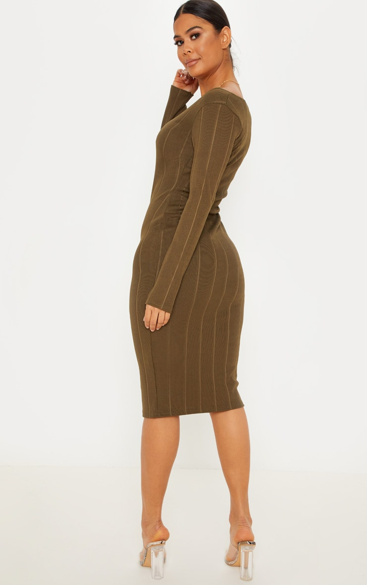 Khaki Wide Rib Button Front Midi Bodycon Dress 2