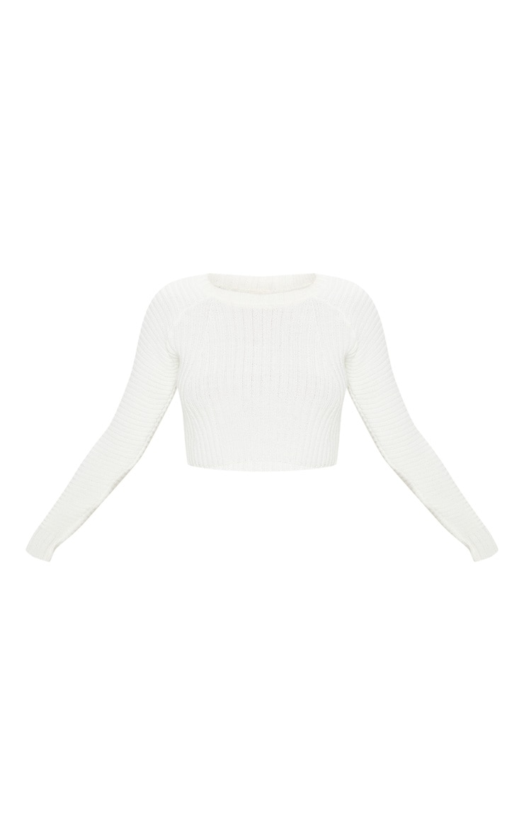 White Cropped Rib Knit Jumper 3