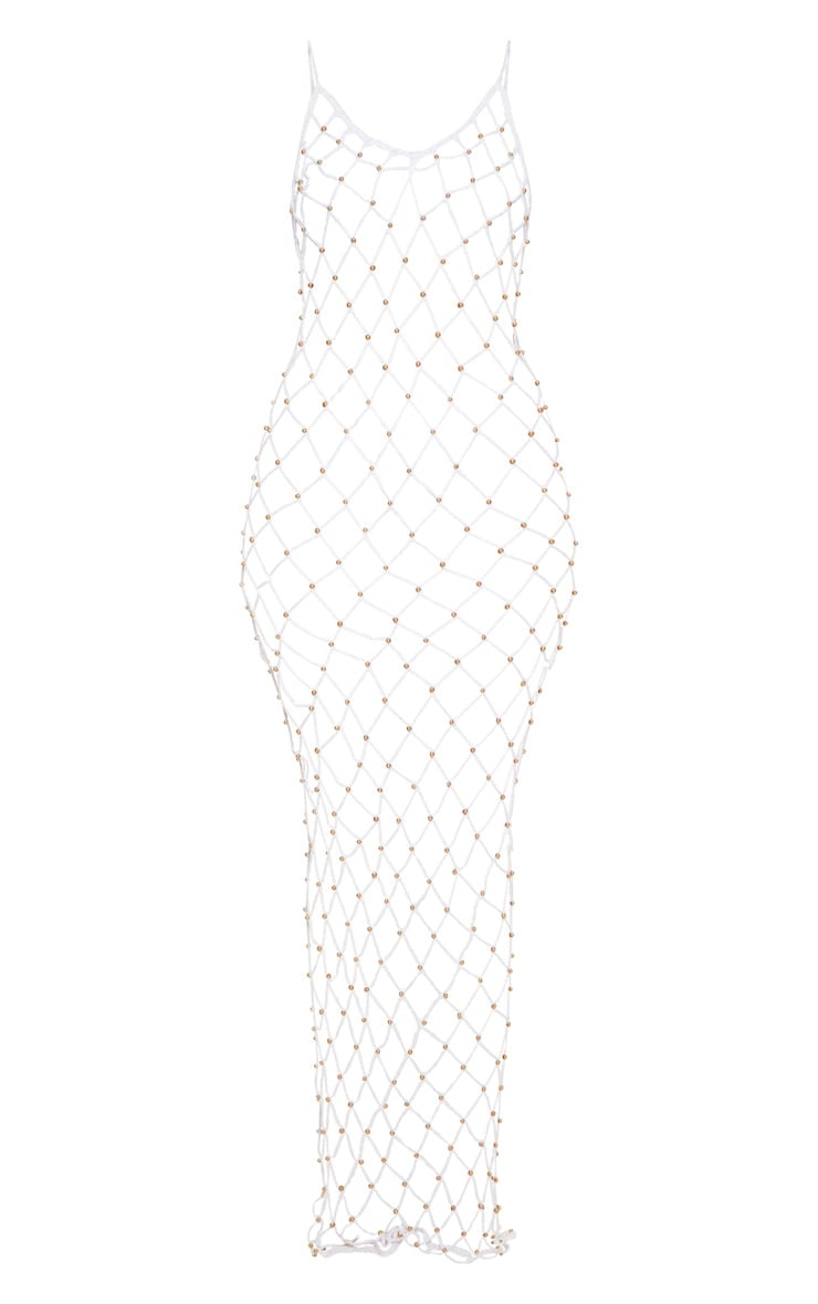 White Crochet Beaded Maxi Dress 3