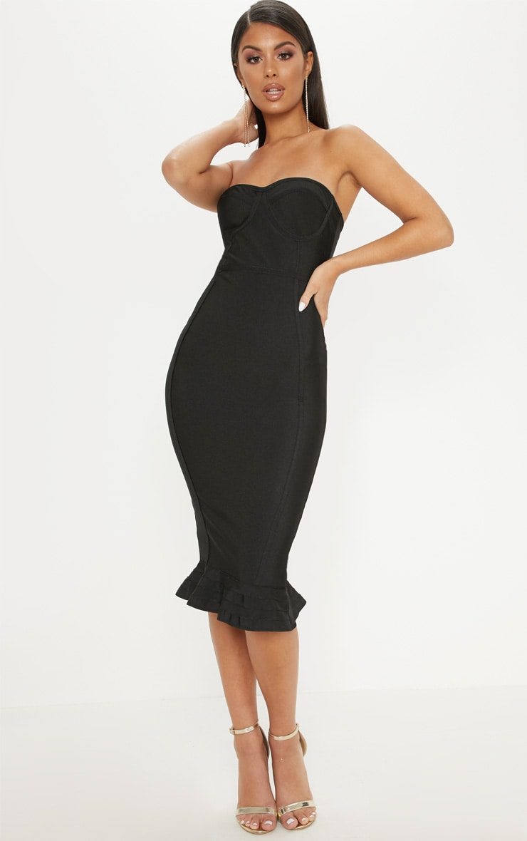 Black Frill Hem Bandage Midi Dress 1