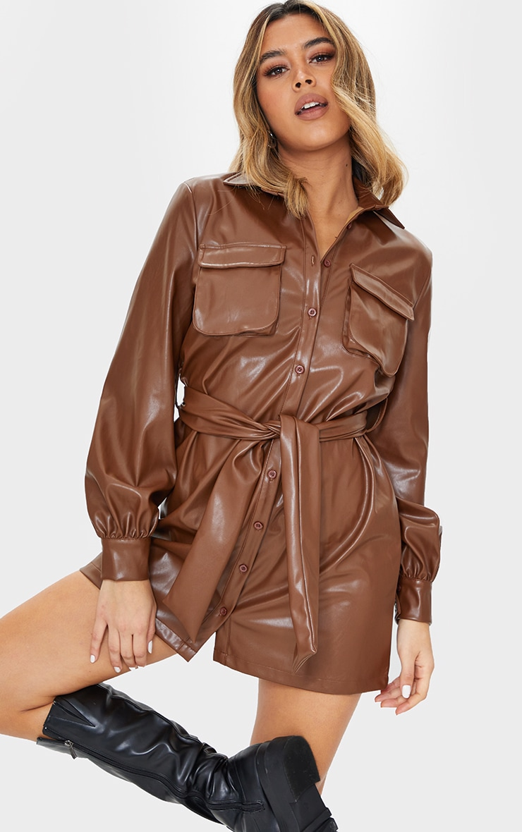 Chocolate Faux Leather Pocket Detail Shirt Dress 1