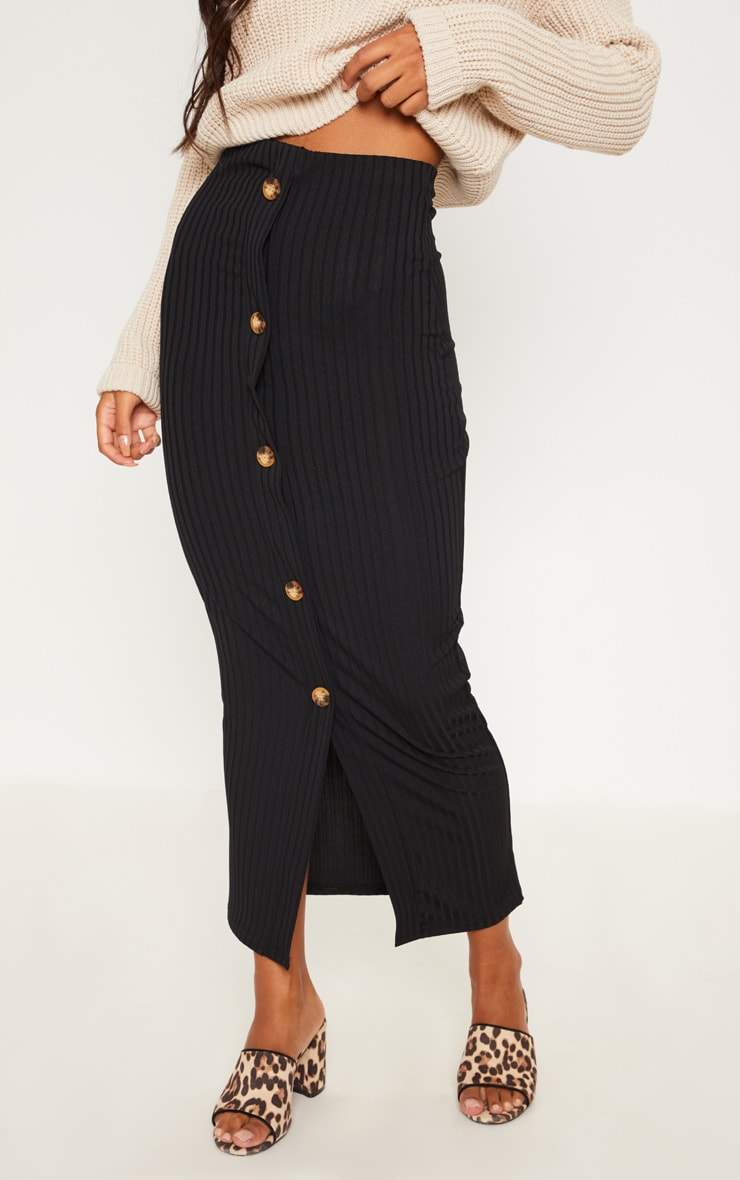 Black Button Front Midaxi Skirt 2