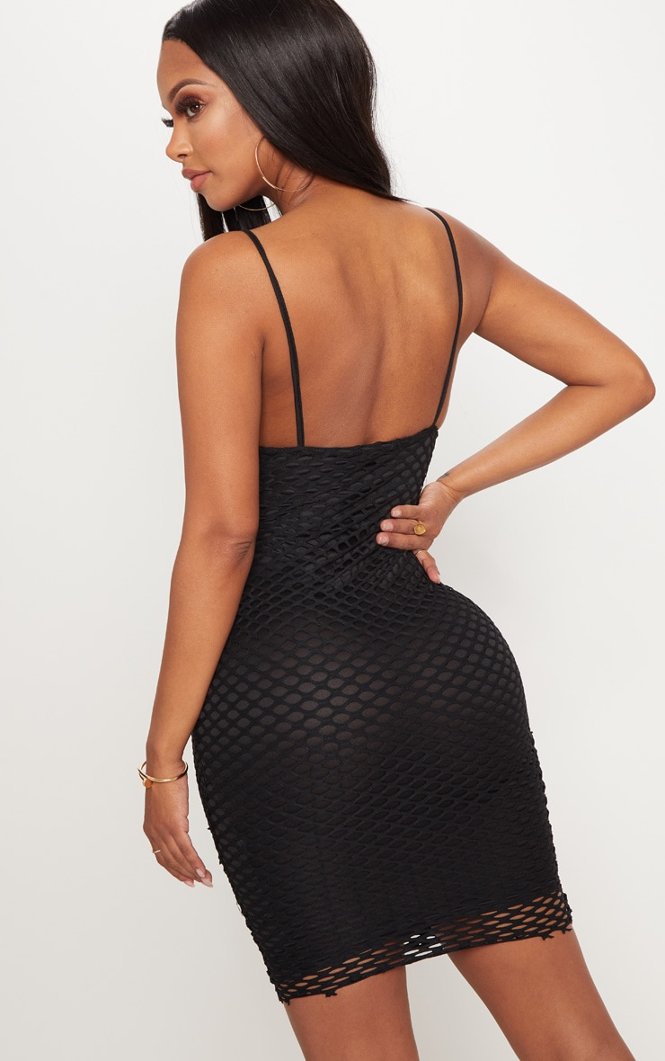 Shape Black Fishnet Cowl Bodycon Dress 2