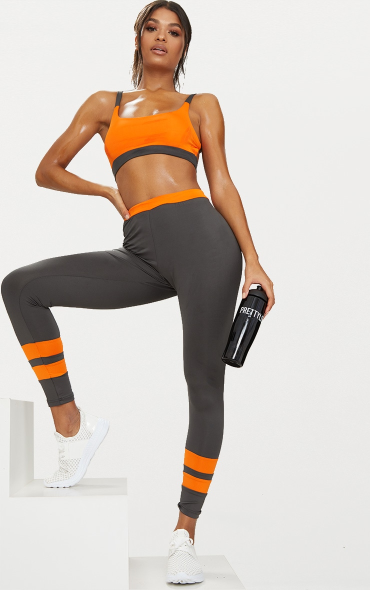 Orange Caged Back Contrast Sports Bra 3