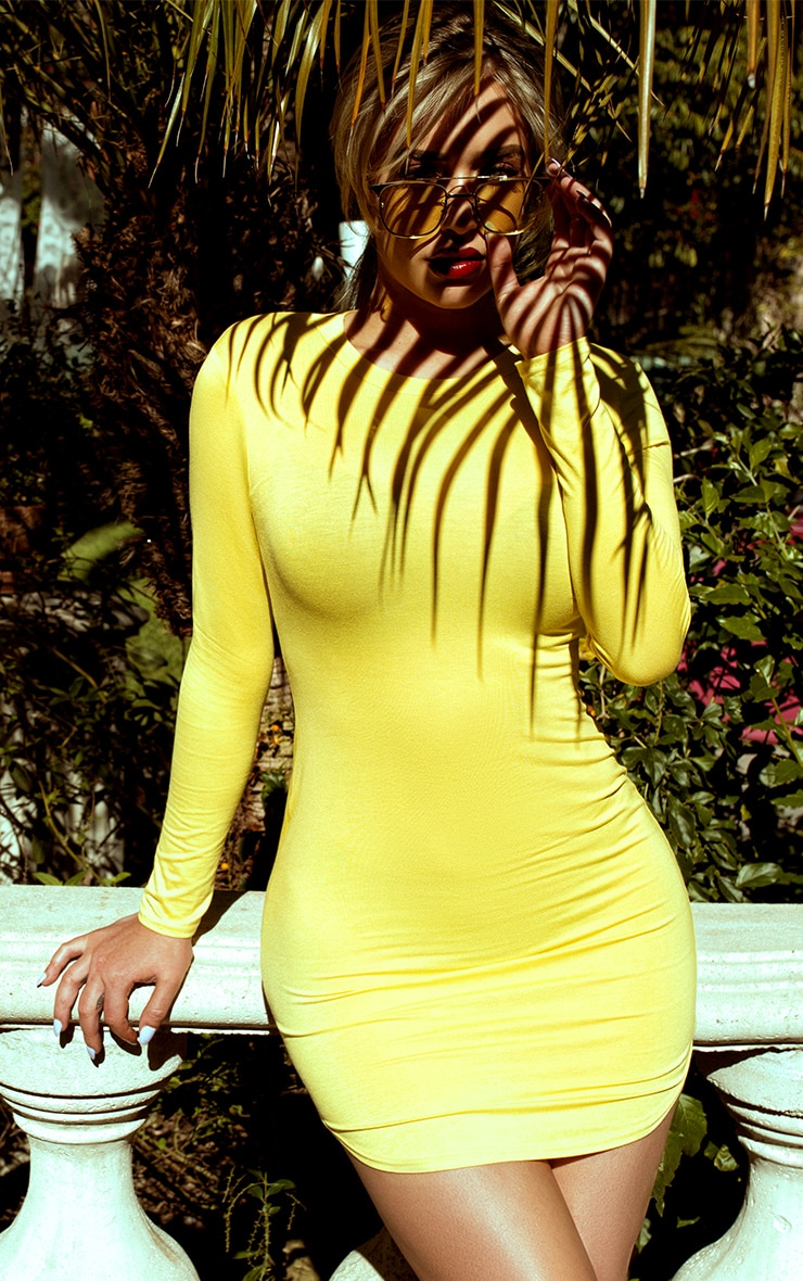Shape Dionne Yellow Jersey Curve Hem Mini Dress 6