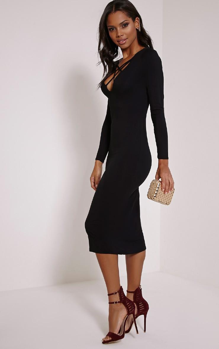 Thelma Black Lattice Front Midaxi Dress 4