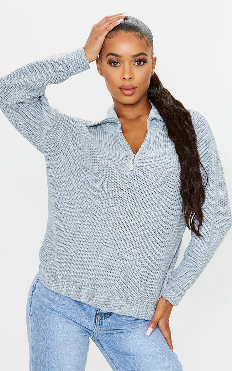 Grey Zip Through Oversized Knitted Sweater 1