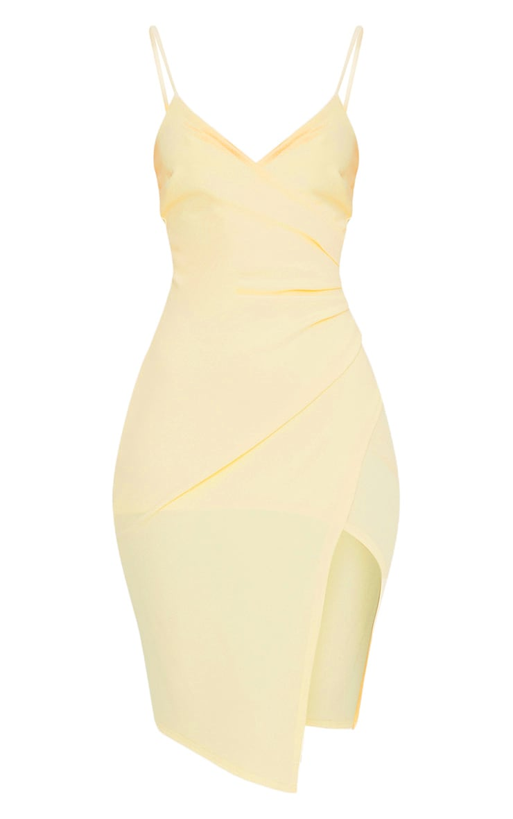 Lauriell Lemon Wrap Front Crepe Midi Dress 3