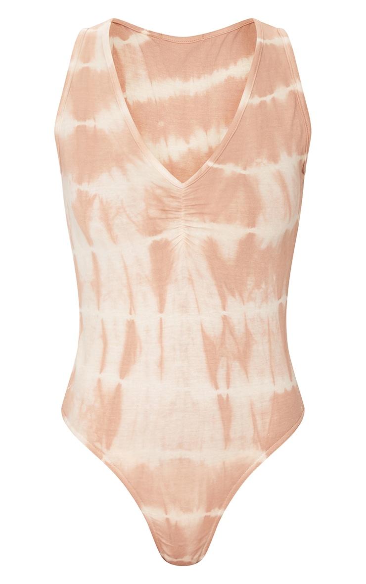 Beige Tie Dye Ruched Front Sleeveless Bodysuit 5