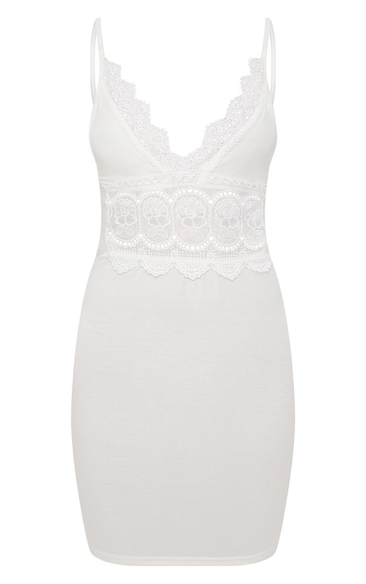 White Crochet Trim Bodycon Dress 3