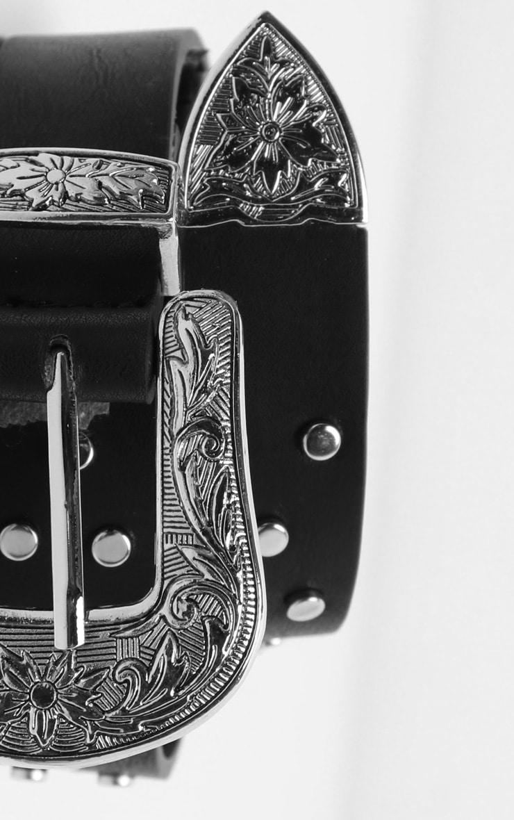 Silver Western Buckle Studded PU Jeans Belt 4