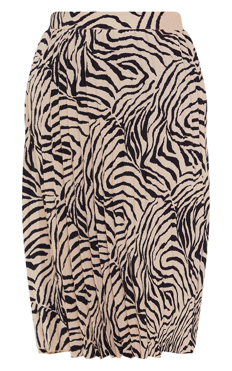 Stone Zebra Print Pleated Midi Skirt 6