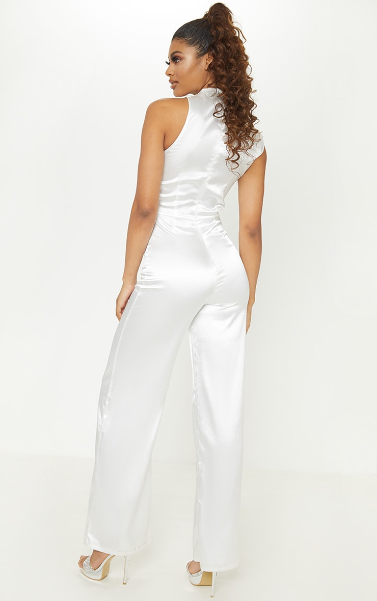 Tall White Satin High Neck Jumpsuit 2