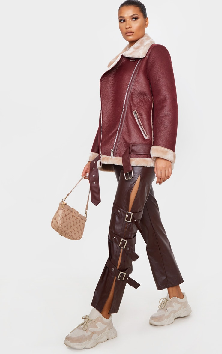 Burgundy PU Oversized Aviator Jacket 1