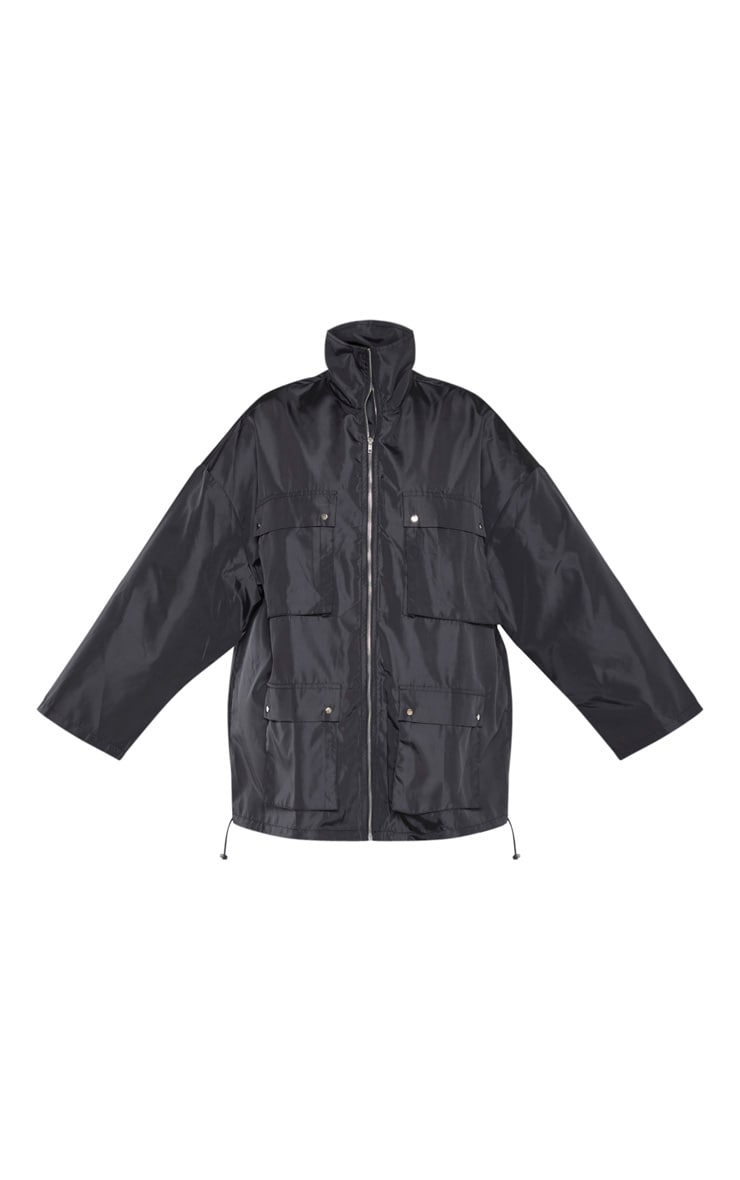Plus Black Oversized Shell Utility Jacket 3