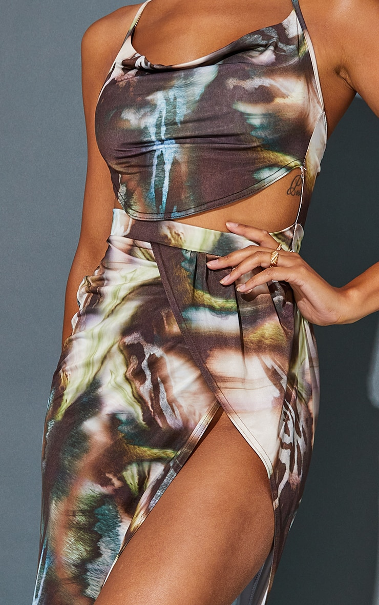 Multi Abstract Print Slinky Cowl Neck Cut Out Maxi Dress 4