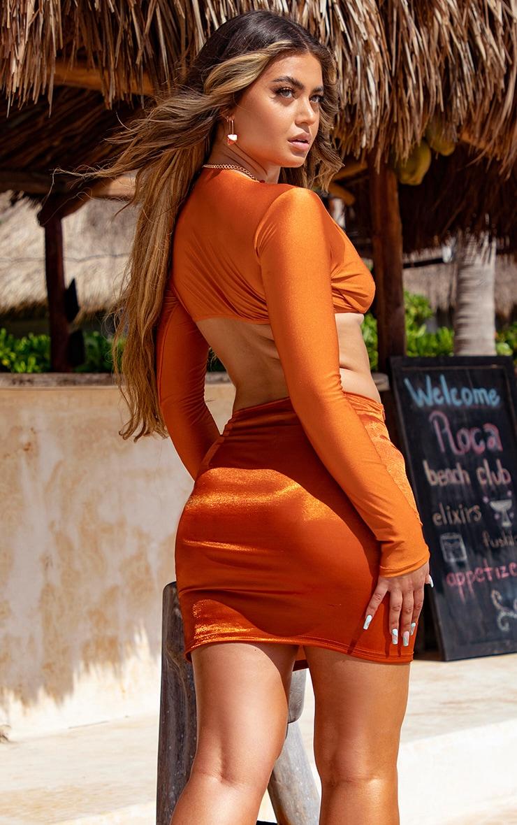 Orange Metallic Mini Split Beach Skirt 3