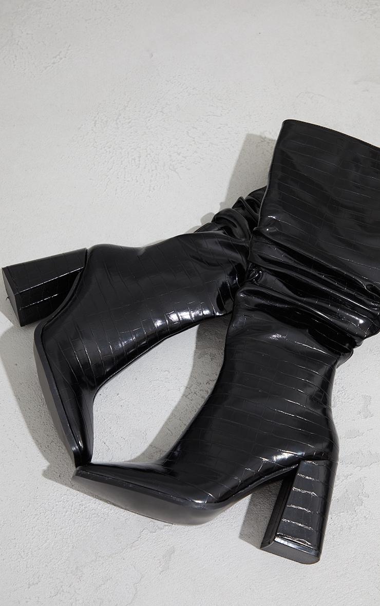 Black High Block Heel Croc Knee High Boots 4