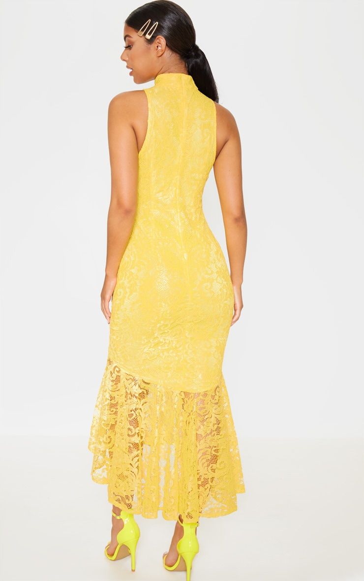 Bright Yellow Lace High Neck Fishtail Midaxi Dress 2