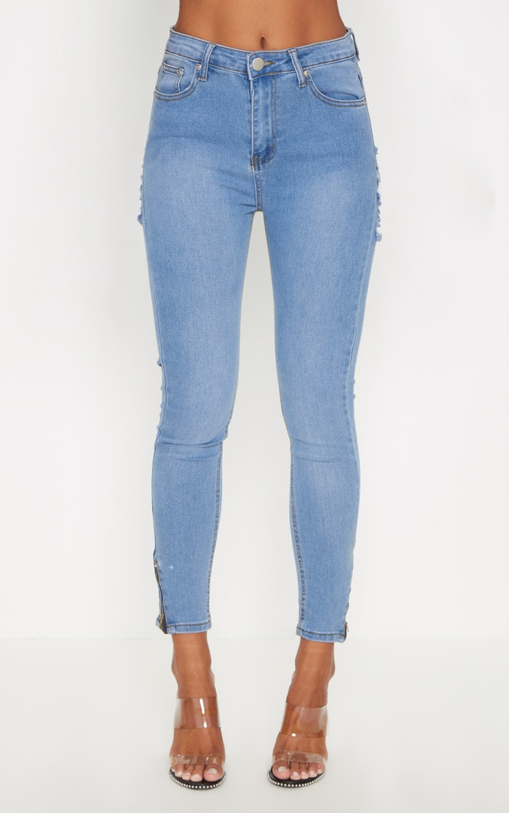 Mid Wash Distressed Bum Rip High Waisted Skinny Jean 6
