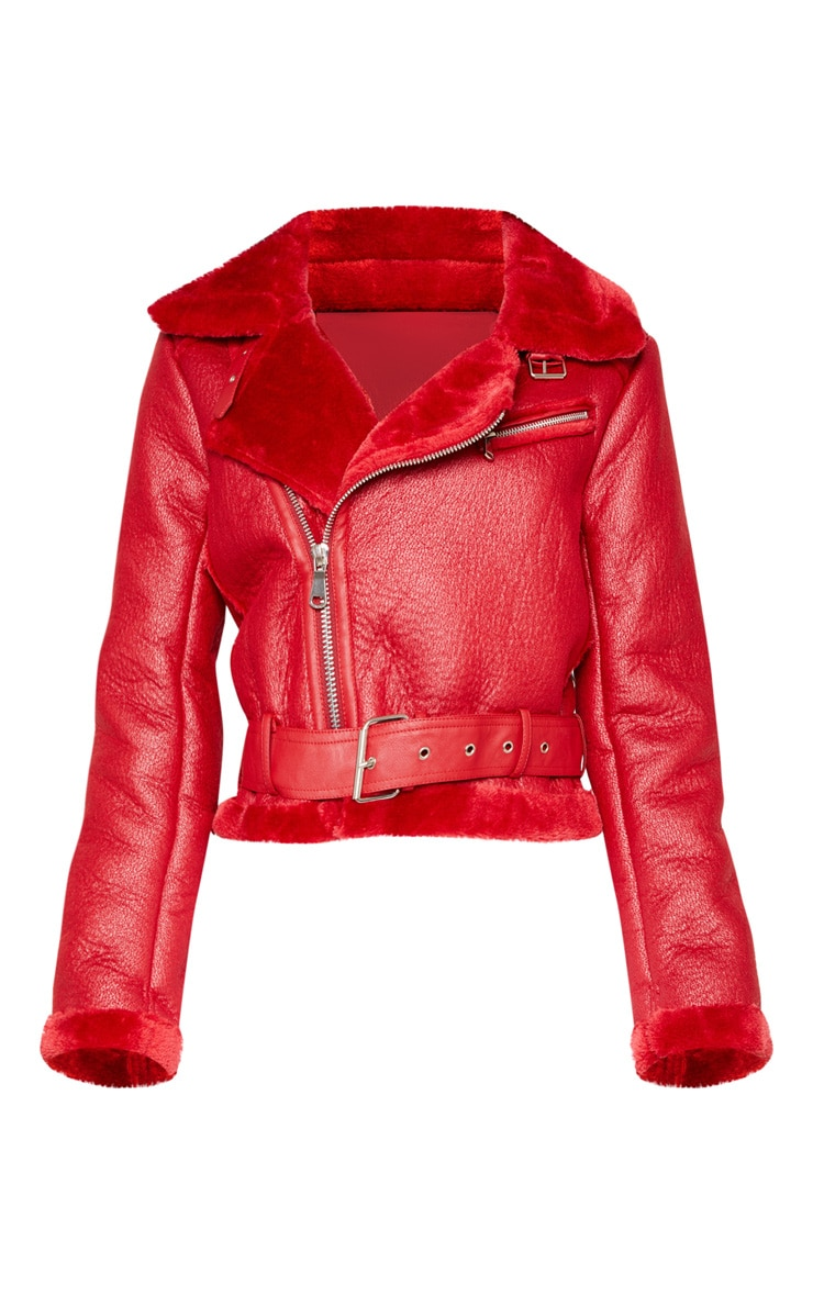 Red Cropped Contrast Faux Fur PU Aviator  3