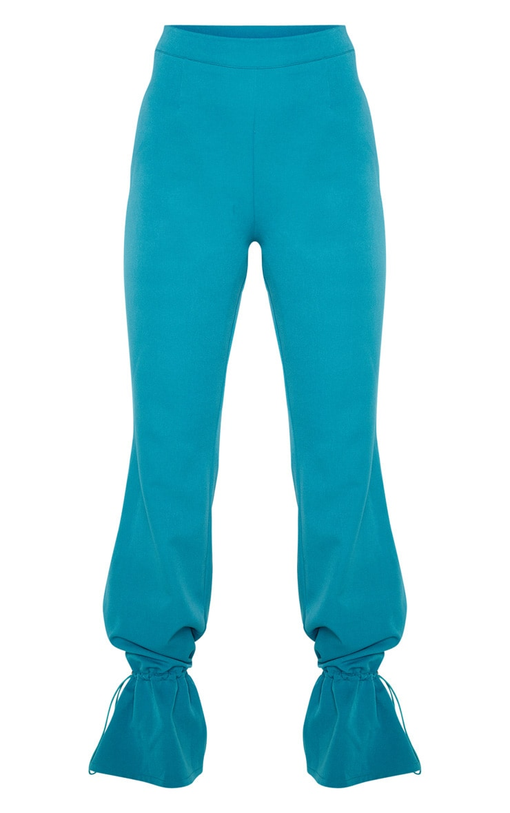 Teal Woven Toggle Cuffed Straight Leg Trouser 3
