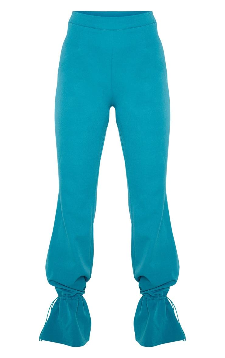Pantalon droit tissé bleu sarcelle à bas resserré 3