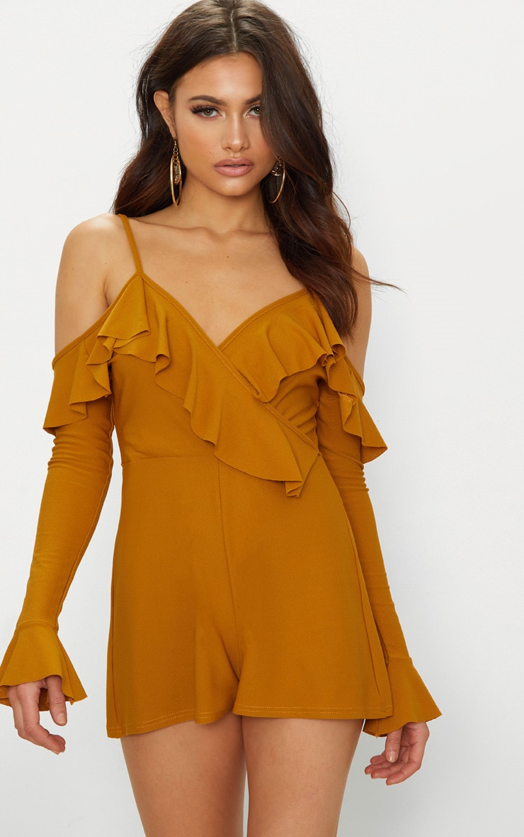 Mustard Crepe Frill Cold Shoulder Playsuit 1
