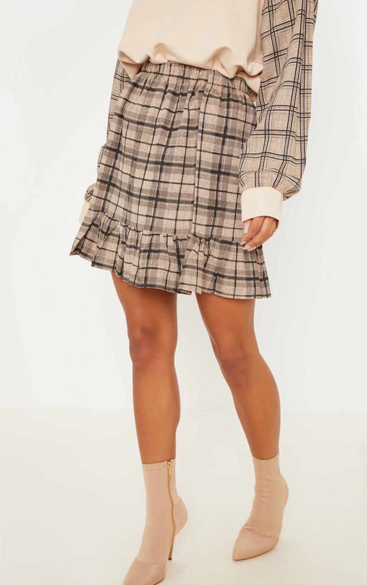 Black Check Frill Hem Mini Skirt  2