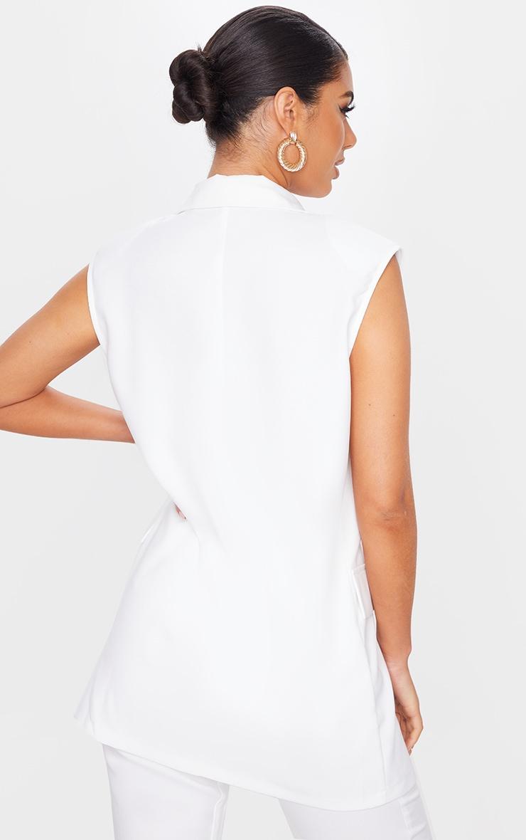 White Woven Longline Sleeveless Blazer 2