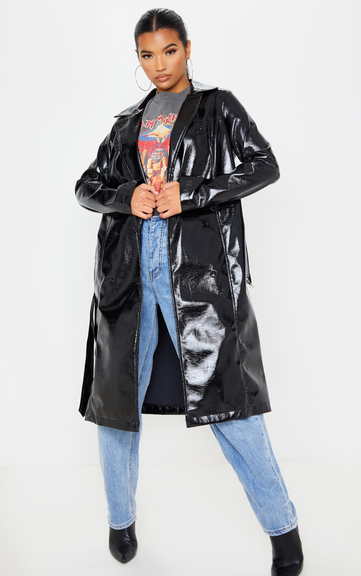 Black Vinyl Crinkle Trench Coat 1