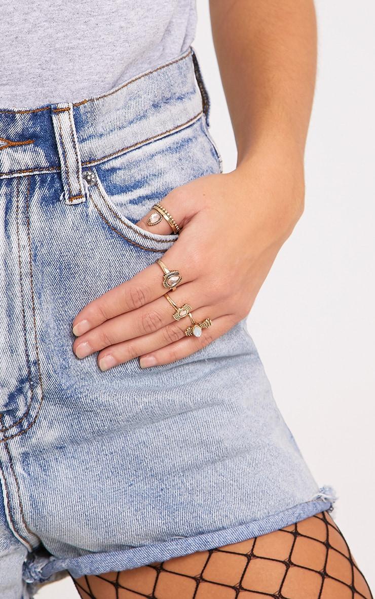 Multi Set Gold Pink Stone Rings  2
