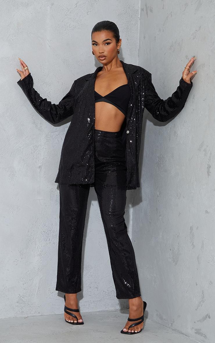 Black Sequin High Waisted Straight Leg Pants 1