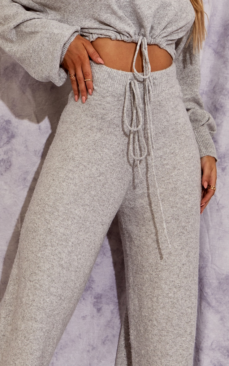 Recycled Light Grey Knitted Wide Leg Pants 4